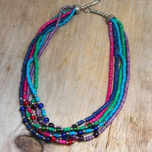 VTG Clay & Glass Bead Colorful Tribal Necklace